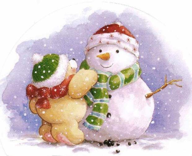 Картинки для доброго зимнего настроения. Снеговички