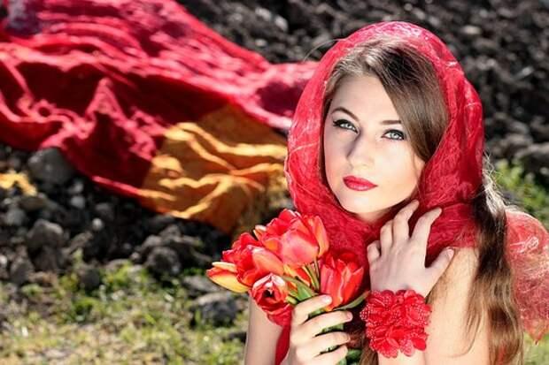 Девушка, О, Красный, Голубые Глаза