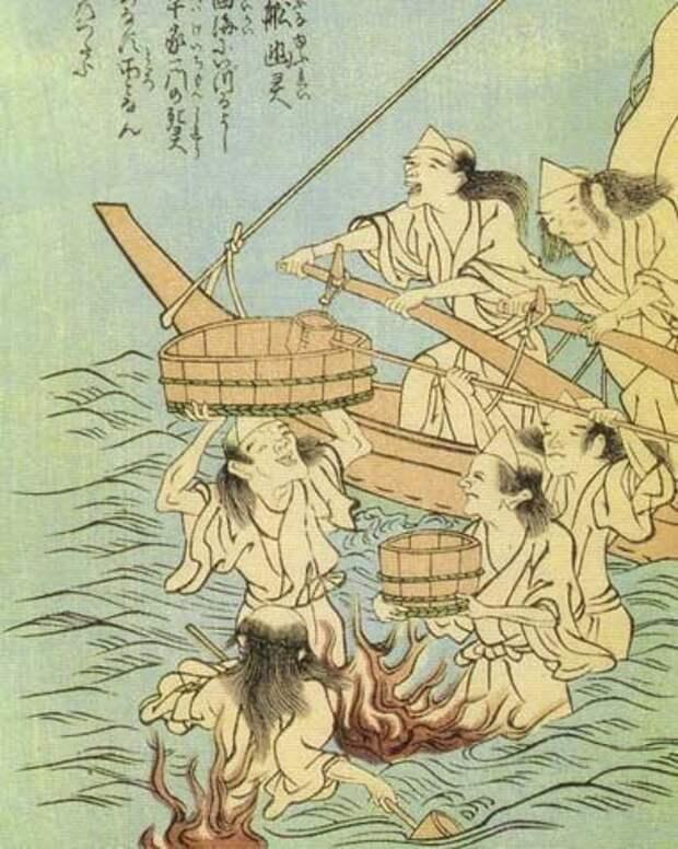 Фунаюрэй, призраки утонувших моряков. Подплывают к кораблям и просят черпак. Если дать — утопят корабль, залив его водой.