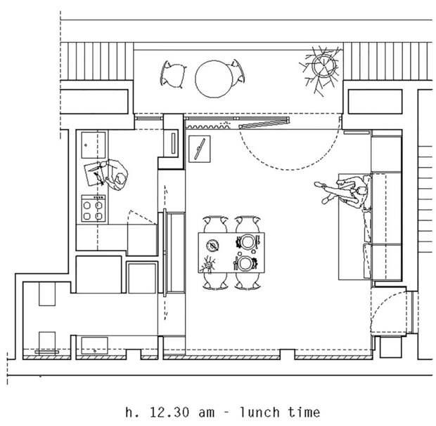 План квартиры - расположение мебели в обед