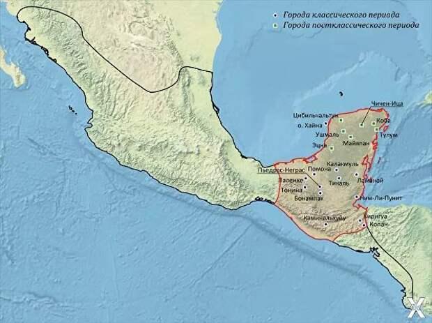 Место культуры майя (красным) и ее го...