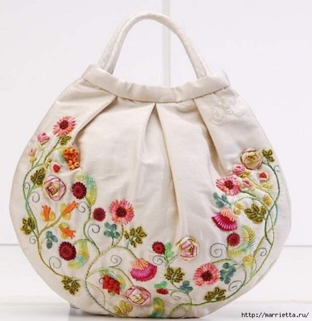 Цветы объемной вышивкой гладью. Красивые работы (3) (556x572, 161Kb)