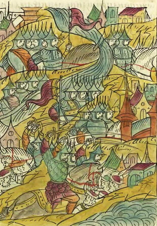 Русские полки опустошают окрестности Риги. Миниатюра из Лицевого свода - Царская месть | Warspot.ru