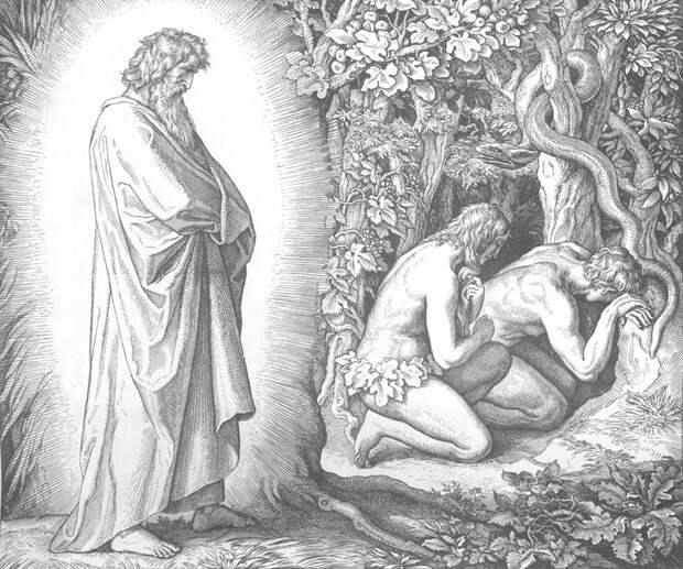 Юлиус Шнорр фон Карольсфельд - Адам и Ева скрываются от лица Господа