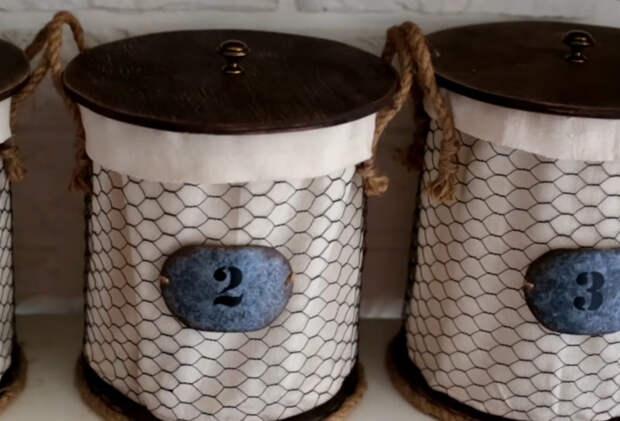Стильное хранение вещей: отличная идея из простой сетки для кроликов