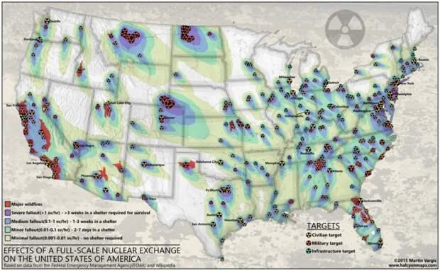 Цели для ядерных ударов по территории США