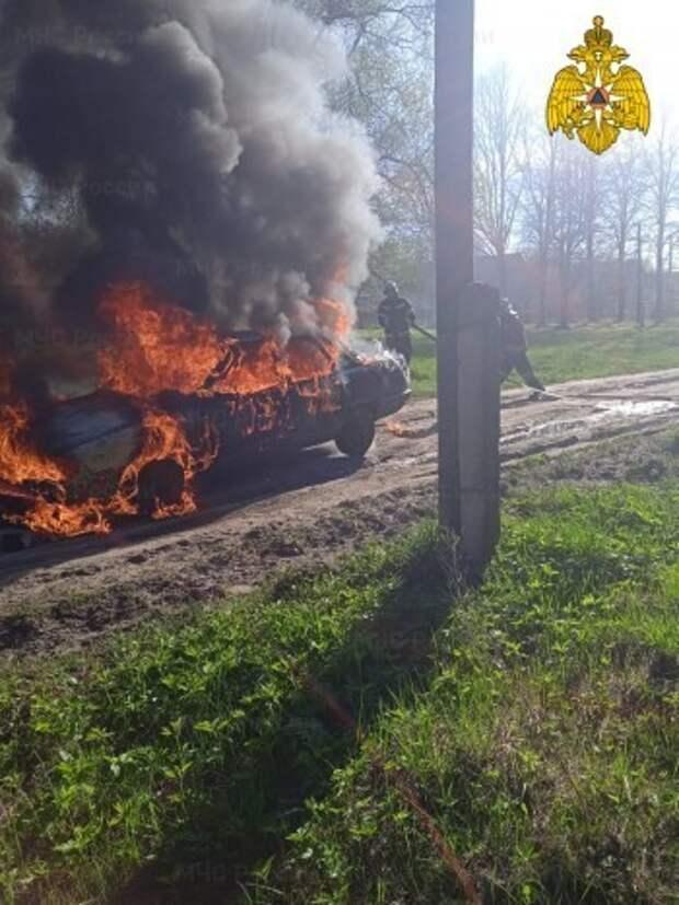 На дороге в Калужской области сгорел автомобиль