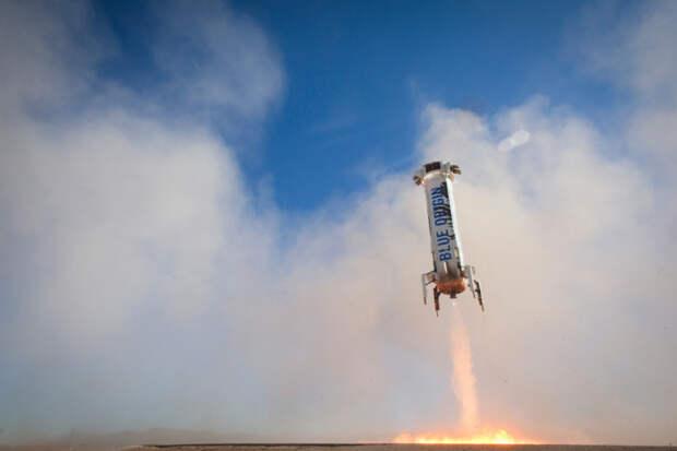 Реактивная посадка суборбитальной ракеты New Shepard. Фото Blue Origin.