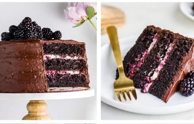 Бесподобный шоколадно-ежевичный торт с кремом Маскарпоне