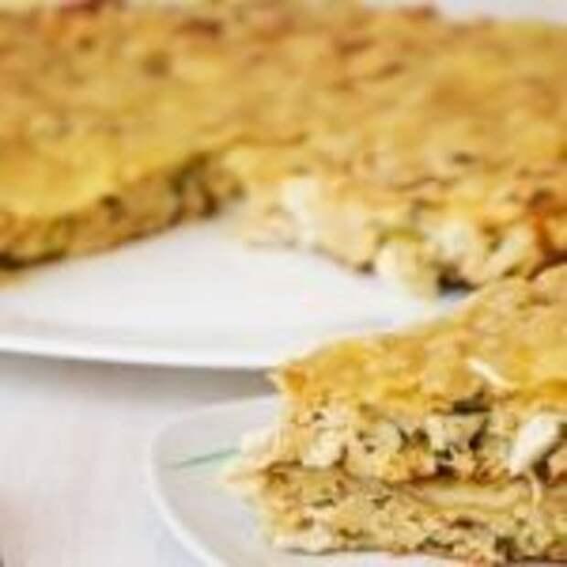 Белковый пирог с курицей и сыром