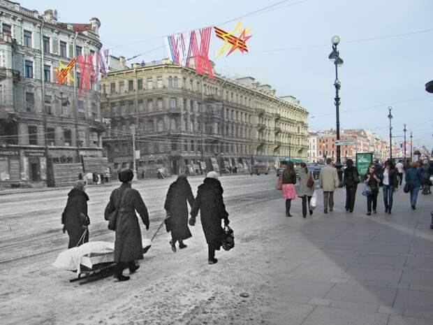 Ленинград 1942-2009 Невский проспект - Караванная улица. У Аничкова дворца блокада, ленинград, победа