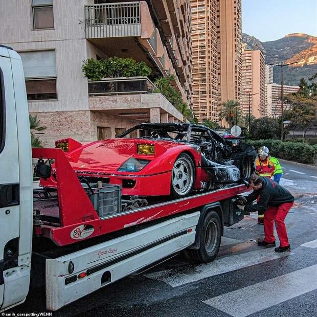 Красивое, но печальное зрелище: в Монте-Карло сгорел редкий Ferrari за миллион фунтов