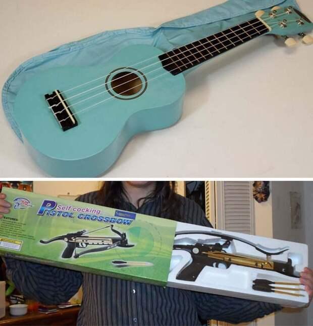 Вместо гитары пришел арбалет заказ, интернет, ожидание и реальность, прикол