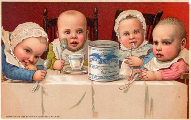 Реклама сгущенки. Она активно продвигалась на рынке, как детское питание. Интересна бело-синяя гамма в оформлении этикетки. Ничего не напоминает?
