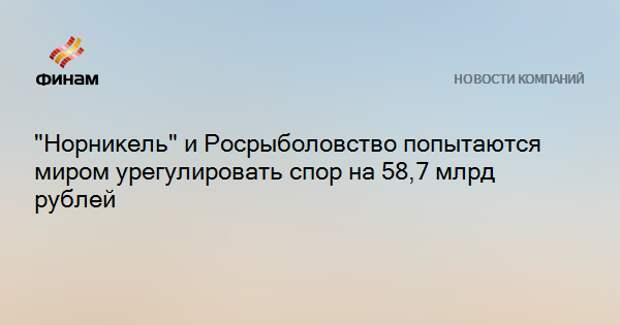 """""""Норникель"""" и Росрыболовство попытаются миром урегулировать спор на 58,7 млрд рублей"""