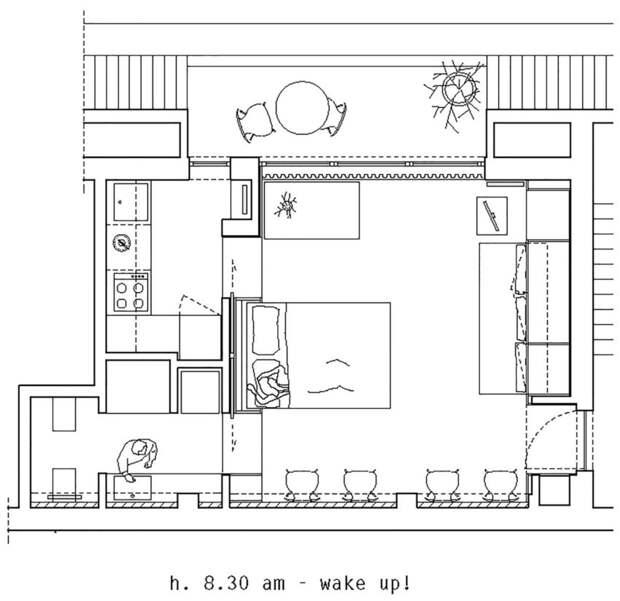 План квартиры - расположение мебели утром