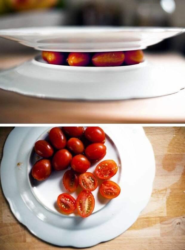 помидоры черри между тарелками