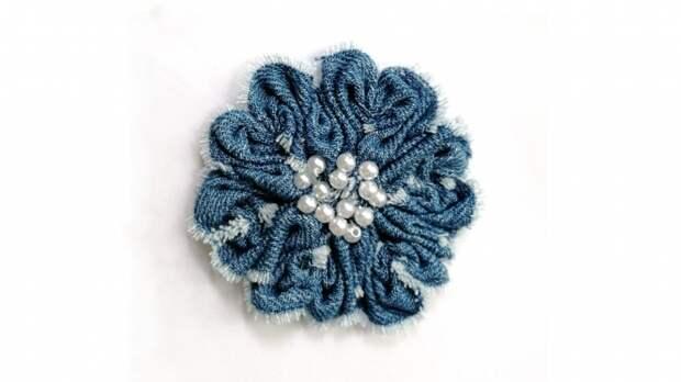 Джинсовый цветок. Мастер класс