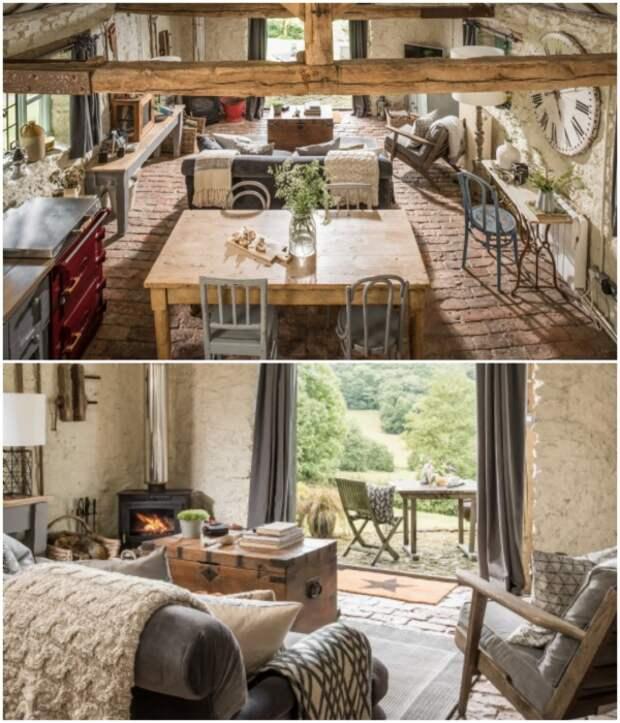 Уютная гостиная-столовая оформлена в рустикальном стиле («Wishbone Cottage», Великобритания).   Фото: uniquehomestays.com.