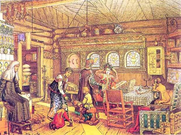 Горница древнерусского дома XVI—XVII вв. Литография по рисунку А.М. Васнецова. 1908—1909