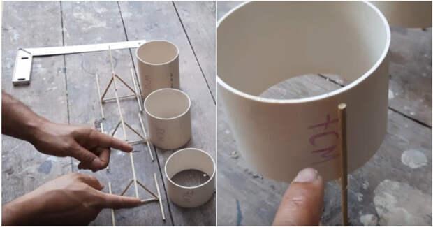 Отличная идея красивого декора из пластиковой трубы. Бюджетно, просто, красиво и полезно