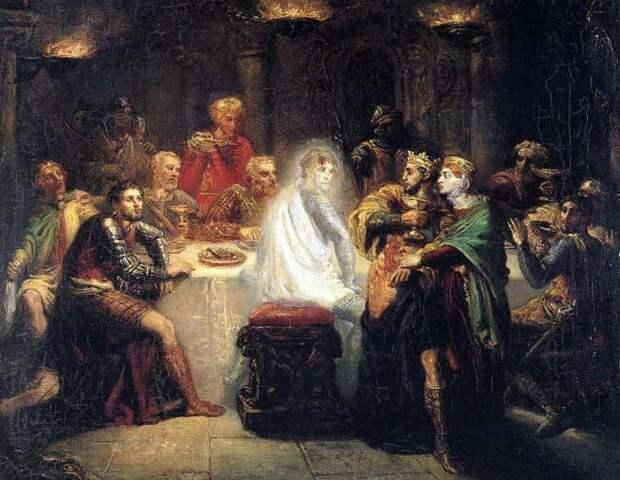 Макбет и призрак Банко, картина Теодора Кассьерио. Источник: wikipedia.org