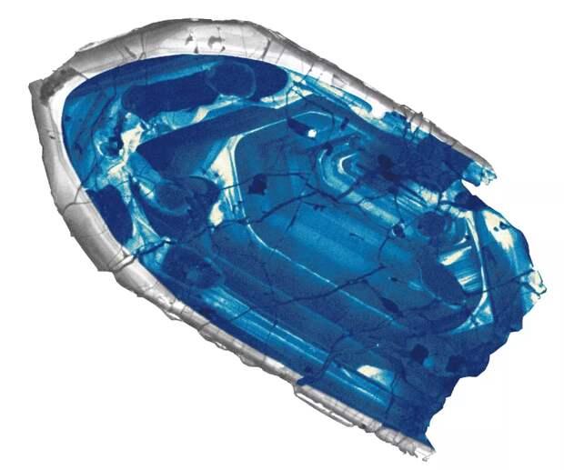 Катодолюминесцентное изображение 400-мкм Циркона из Джек Хиллс возрастом 4,4 млрд. лет. Credit by John Valley, University of Wisconsin.