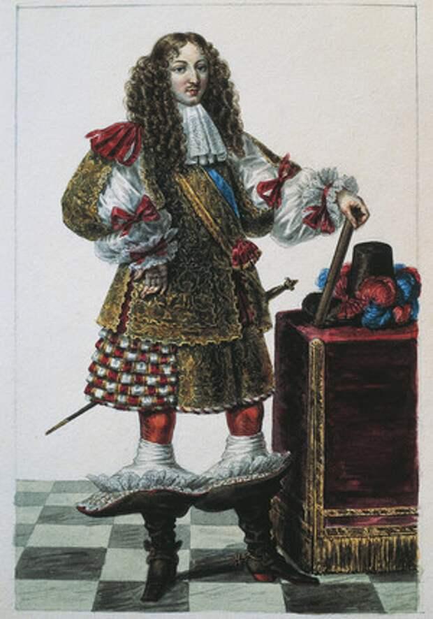 Людовик XIV (1638-1715) в возрасте 22 лет, 1660 г. Рисунок Ланте