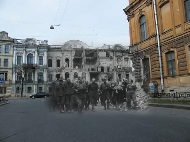 Ленинград 1942-2009 Угол Чайковского и Моховой. Пленные гитлеровцы на улицах осажденного города летом 1942 блокада, ленинград, победа