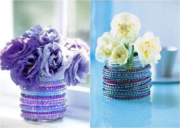 Преобразить и украсить вазу возможно при помощи бусин, что создадут по настоящему красивую вазу за минимум времени и средств.
