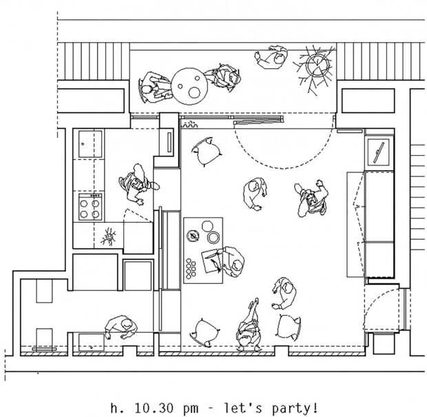 План квартиры - расположение мебели во время вечеринки