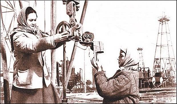 У «нефтянки» времен Великой  Отечественной - женское лицо