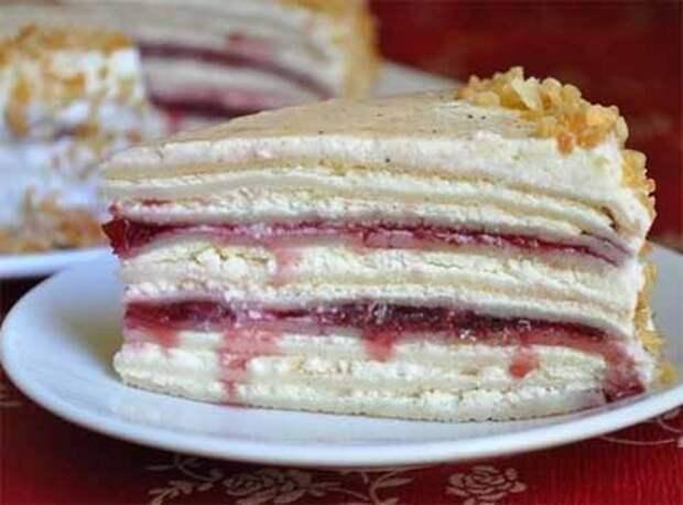 сливочно-творожный блинный торт