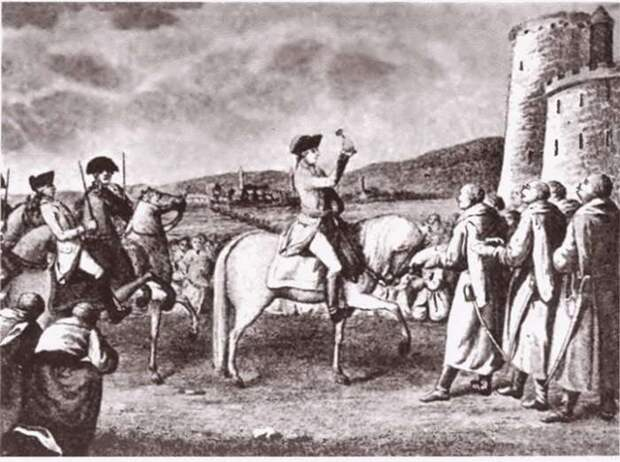 Вступление А. В. Суворова в Варшаву, гравюра XIX века
