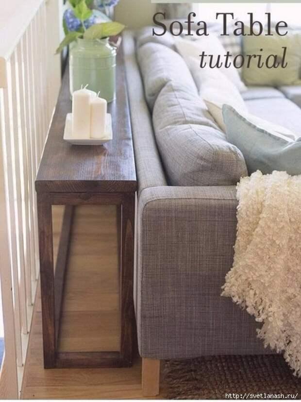 15 рациональных идей, как использовать свободное место за диваном