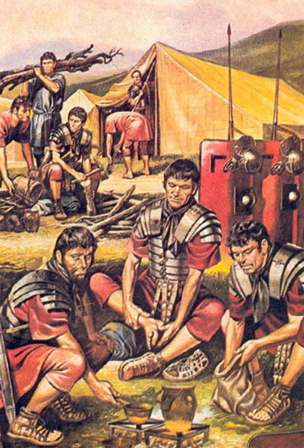 Хорошо видно стандартную посуду для готовки и еды которую носил с собой каждый легионер