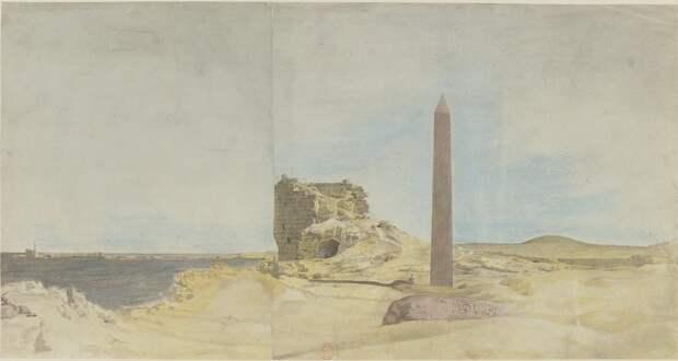 Александрия. Обелиск, известный как Игла Клеопатры и башня римлян