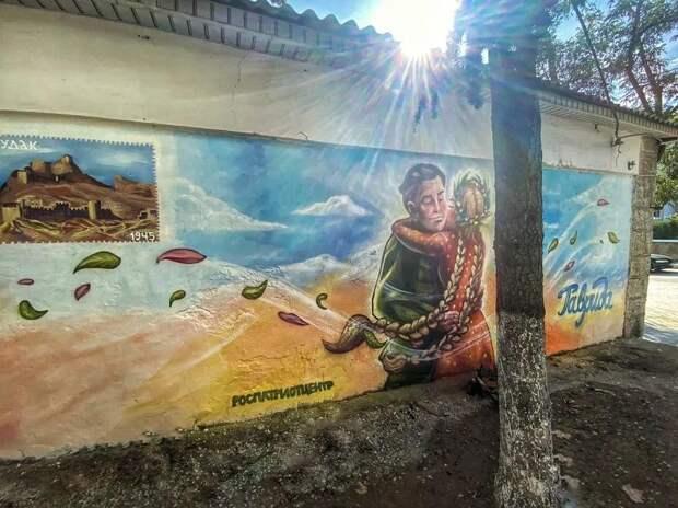 В городах Крыма появились граффити, посвященные годовщине Победы в ВОВ