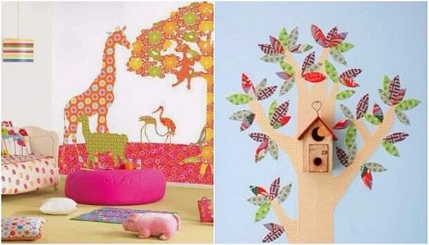 В детской комнате можно оформить аппликации из остатков обоев.