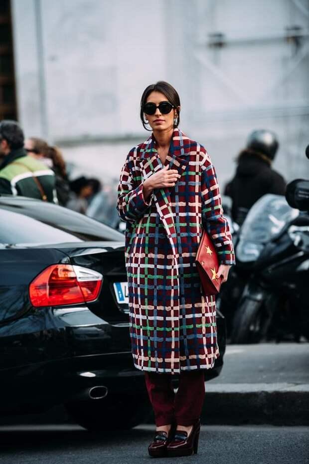 Стильное пальто в клетку. Образы для настоящих модниц