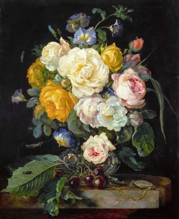 Корнелис де Хем (1631-1695) Натюрморт с пионами, вишнями и часами голландские натюрморты, живопись, искусство, красота, цветы