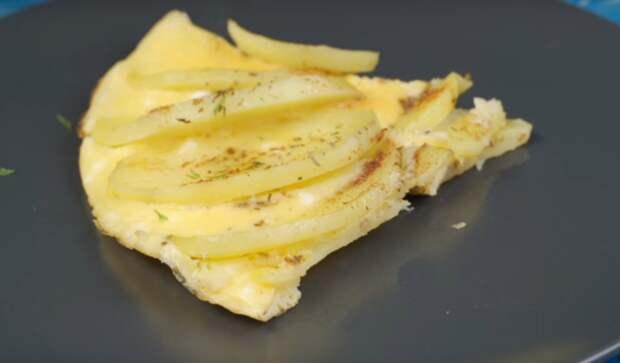 Вкусное блюдо к завтраку: яичница с картофелем