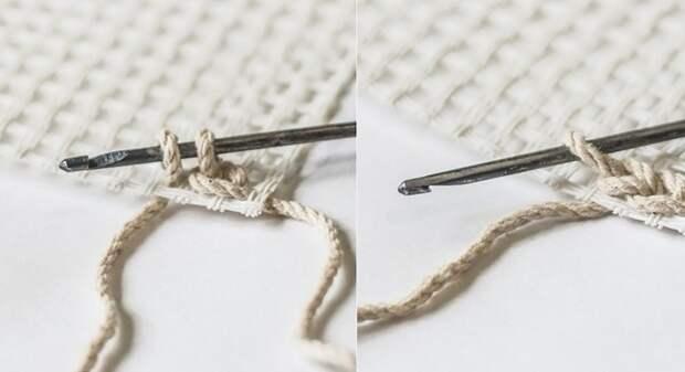 вязание крючком по канве