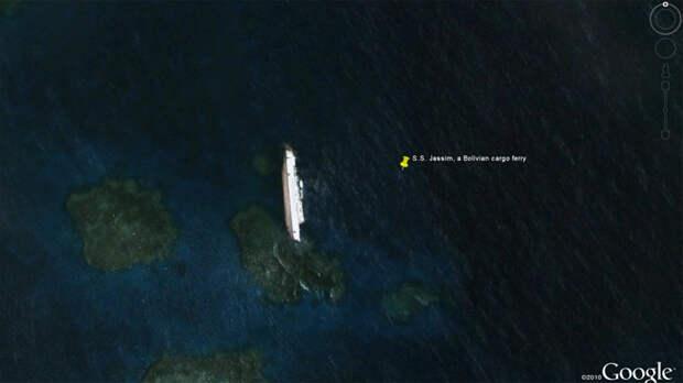 10. Судно SS Jassim заотнуло в 2003 году. Кораблекрушение было настолько крупным, что его удалось найти на Google Earth Google Карты, вокруг света, интересное, открытия