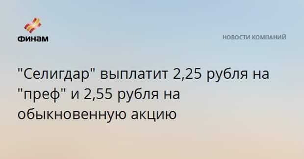 """""""Селигдар"""" выплатит 2,25 рубля на """"преф"""" и 2,55 рубля на обыкновенную акцию"""