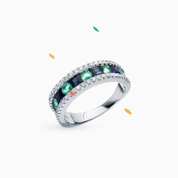 Кольцо SL, белое золото, изумруды, бриллианты