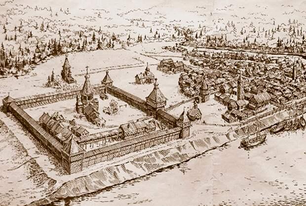 Зарисовка кремля и посада Мангазеи
