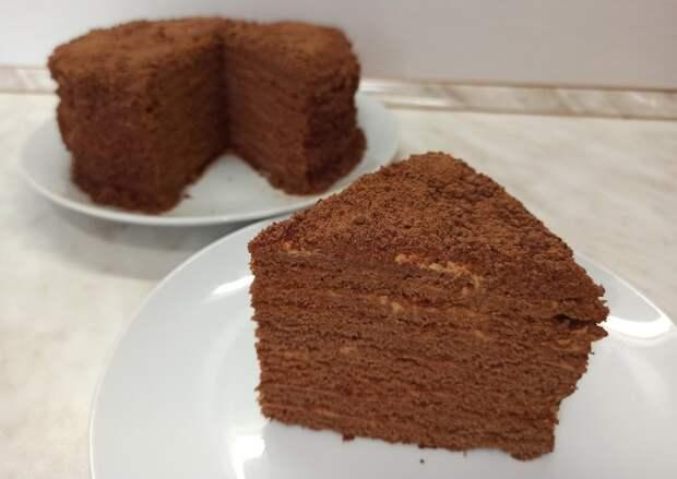 Нежный торт Шоколадный Медовик со сметанным кремом