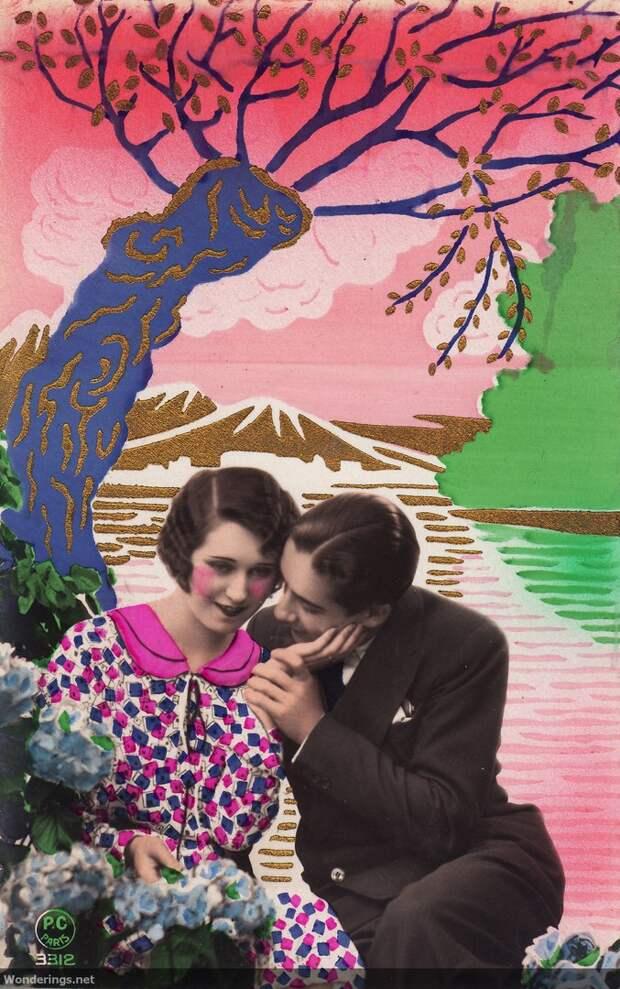 Французские раскрашенные романтические фотооткрытки 1930-х годов.