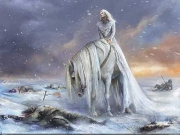 Валькирий изображали как всадниц, парящих над полем битвы.